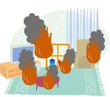地震による火災で家財が焼けた